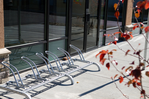 Bike racks at green animal hospital